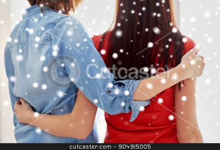 close up of happy lesbian couple hugging at home stock photo, people, homosexuality, same-sex marriage, gay and love concept - close up of happy lesbian couple hugging at home over snow effect by Syda Productions