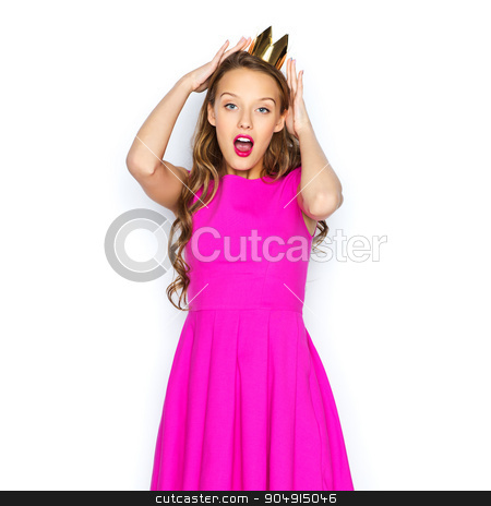 happy young woman or teen girl in pink dress stock photo, people, holidays and fashion concept - happy young woman or teen girl in pink dress and princess crown by Syda Productions