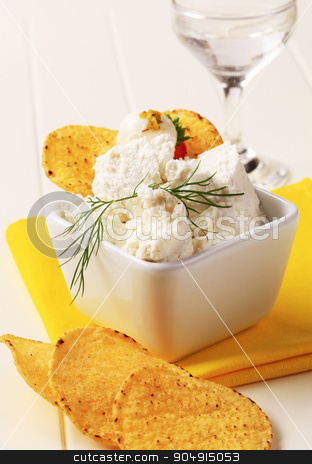 Corn chips and curd cheese stock photo, Corn chips and bowl of curd cheese by Digifoodstock