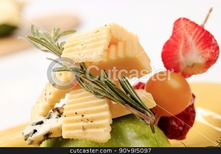 Cheese and fruit appetizer stock photo, Appetizer - Two kinds of cheese and fresh fruit by Digifoodstock