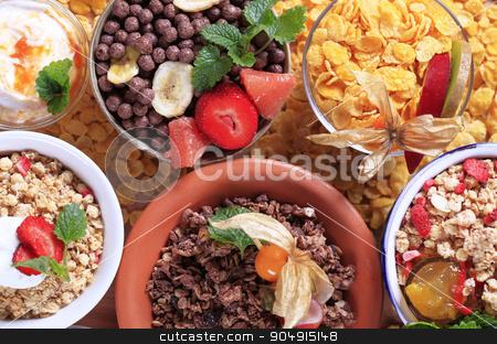 Assorted breakfast cereals stock photo, Various types of breakfast cereal - overhead by Digifoodstock