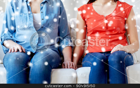 close up of lesbian couple sitting on sofa at home stock photo, people, homosexuality, same-sex marriage, gay and love concept - close up of happy lesbian couple sitting on sofa at home over snow effect by Syda Productions