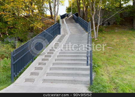 stair case with railings in autumn park stock photo, architecture concept - stair case with railings in autumn park by Syda Productions