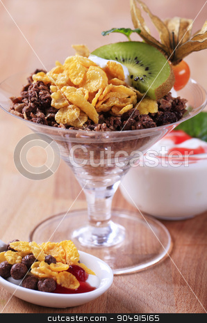 Breakfast cereal stock photo, Various types of breakfast cereal and yogurt by Digifoodstock