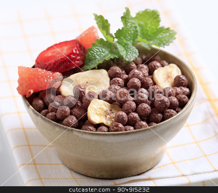 Chocolate breakfast cereal stock photo, Cocoa-flavored puffed grain breakfast cereal by Digifoodstock