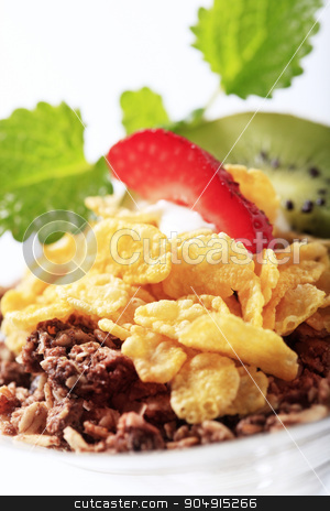 Breakfast cereal stock photo, Bowl of chocolate granola and corn flakes by Digifoodstock