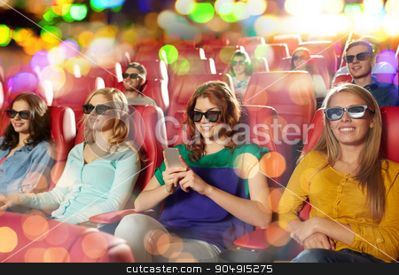happy woman with smartphone in 3d movie theater stock photo, cinema, technology, entertainment and people concept - happy woman with 3d glasses and smartphone reading message in movie theater by Syda Productions