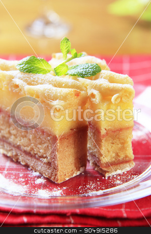 Rum soaked cake stock photo, Slice of rum soaked sponge cake with vanilla custard  by Digifoodstock
