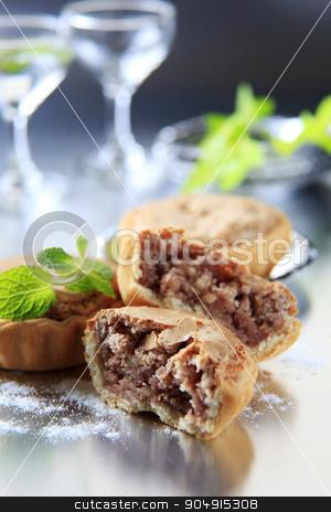 Mini tarts stock photo, Small tarts with nut filling by Digifoodstock