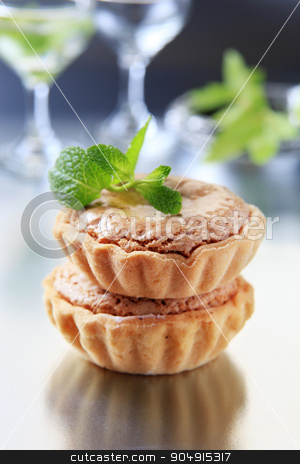 Sweet tartlets stock photo, Sweet tartlets with nut and marzipan filling  by Digifoodstock