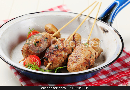 Minced meat kebabs  stock photo, Minced meat kebabs and pan roasted mushrooms  by Digifoodstock