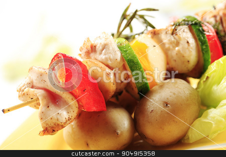 Chicken shish kebab with potatoes stock photo, Chicken shish kebab and new potatoes by Digifoodstock