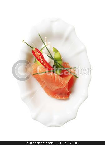Appetizer stock photo, Slice of smoked salmon, baby mozzarella and kiwi by Digifoodstock