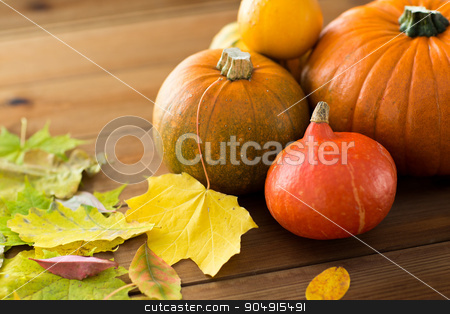 close up of pumpkins on wooden table at home stock photo, harvest, season, advertisement and autumn concept - close up of pumpkins and leaves on wooden table at home by Syda Productions