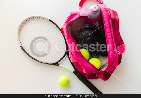 close up of tennis stuff and female sports bag stock photo, sport, fitness, healthy lifestyle and objects concept - close up of tennis racket and balls with female sports bag by Syda Productions