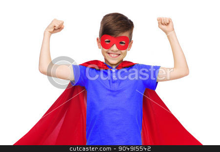 boy in red super hero cape and mask showing fists stock photo, carnival, childhood, power, gesture and people concept - happy boy in red super hero cape and mask showing fists by Syda Productions