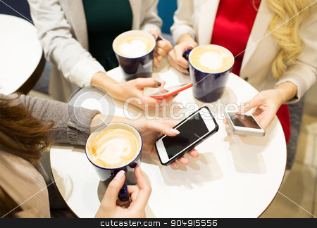 close up of hands with coffee cups and smartphones stock photo, drinks, communication, leisure, technology and people concept - close up of hands with coffee cups and smartphones by Syda Productions