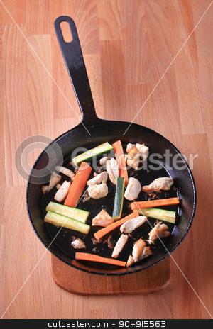 Preparing a chicken stir fry stock photo, Preparing a chicken stir fry - closeup by Digifoodstock