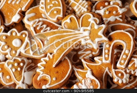 Gingerbread cookies  stock photo, Various shapes of gingerbread cookies - full frame by Digifoodstock