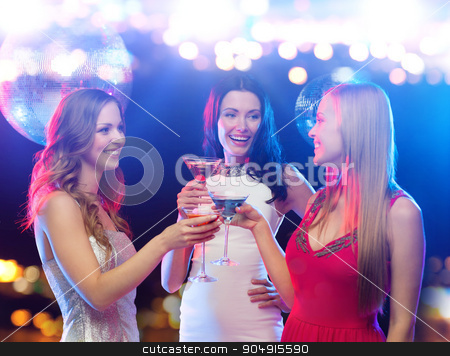 smiling women with cocktails at night club stock photo, holidays, nightlife, bachelorette party and people concept - smiling women with cocktails at night club by Syda Productions