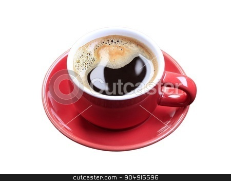Cup of coffee stock photo, Cup of black coffee isolated on white by Digifoodstock