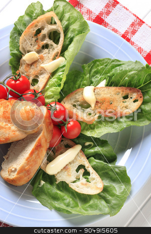 Appetizer stock photo, Pan roasted chicken breast with crispy bread and lettuce by Digifoodstock