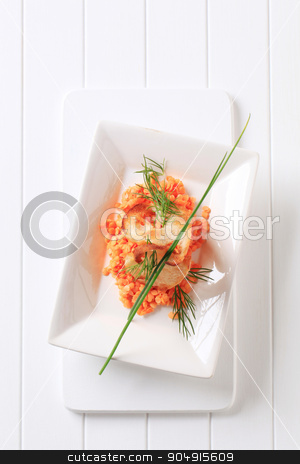 Red lentils stock photo, Red lentils garnished with crispy bread and chives by Digifoodstock