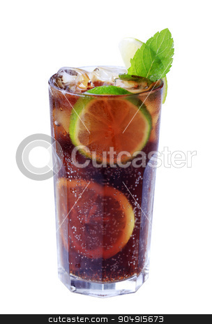 Iced Drink stock photo, Tall glass of iced drink with slices of lime by Digifoodstock