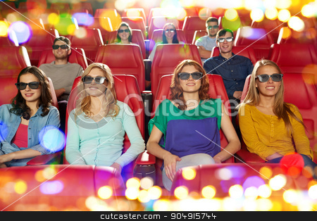 happy friends watching movie in 3d theater stock photo, cinema, technology, entertainment and people concept - happy friends with 3d glasses watching movie in theater by Syda Productions