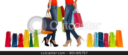 close up of women with shopping bags stock photo, people, sale and consumerism concept - close up of women with shopping bags by Syda Productions
