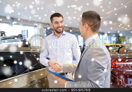 happy man shaking hands in auto show or salon stock photo, auto business, car sale, technology, gesture and people concept - happy man and car dealer with tablet pc computer shaking hands in auto show or salon over snow effect by Syda Productions