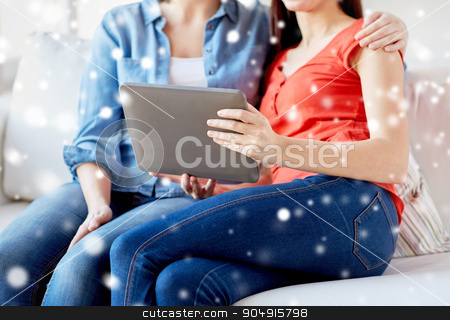close up of lesbian couple with tablet pc at home stock photo, people, homosexuality, same-sex marriage, gay and love concept - close up of happy lesbian couple with tablet pc computer sitting on sofa at home over snow effect by Syda Productions