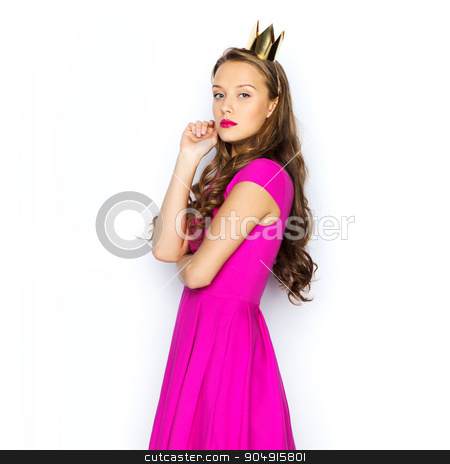 young woman or teen girl in pink dress stock photo, people, holidays and fashion concept - young woman or teen girl in pink dress and princess crown by Syda Productions