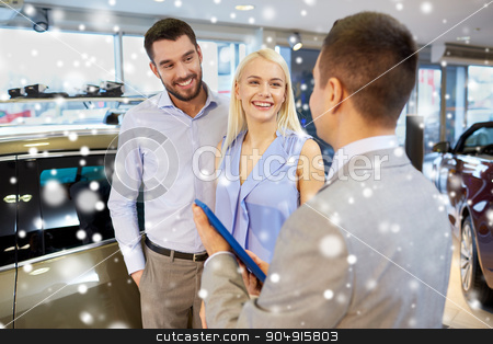 happy couple with car dealer in auto show or salon stock photo, auto business, car sale, technology and people concept - happy couple with car dealer in auto show or salon over snow effect by Syda Productions
