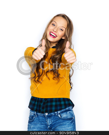 happy young woman or teen girl showing thumbs up stock photo, people, gesture, style and fashion concept - happy young woman or teen girl in casual clothes showing thumbs up by Syda Productions
