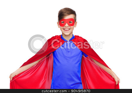boy in red super hero cape and mask stock photo, carnival, childhood, power, gesture and people concept - happy boy in red super hero cape and mask by Syda Productions