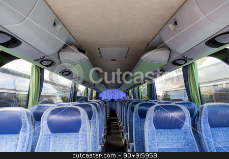 travel bus interior stock photo, transport, tourism, road trip and equipment concept - travel bus interior by Syda Productions