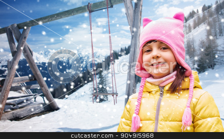 happy beautiful little girl portrait over winter stock photo, childhood, vacation, winter holidays and people concept - happy beautiful little girl portrait outdoors over swing, snow and mountains background by Syda Productions