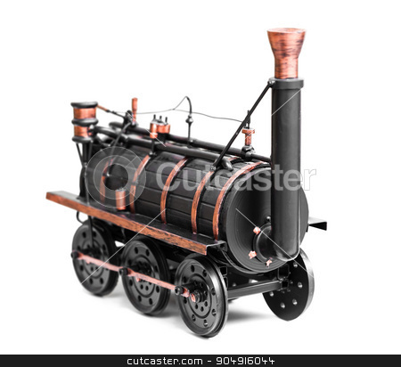 vintage train toy  stock photo, vintage train toy isolated on white background by MegaArt