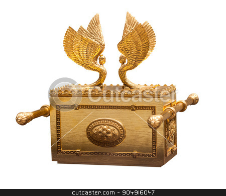 vintage gold chest  stock photo, vintage gold chest isolated on a white background by MegaArt