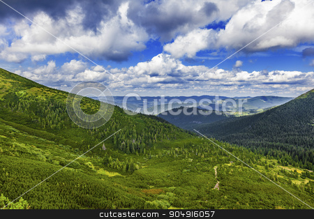 summer landscape  stock photo, summer landscape of the Montenegrin ridge in Carpathians by MegaArt