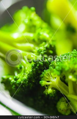 Hot boiled broccoli close-up  stock photo, Hot boiled broccoli close-up in glass bowl by MegaArt