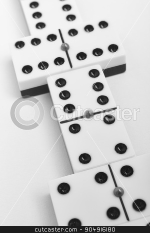 Domino game with pieces over a white background. Black, white stock photo, Domino game with pieces over a white background. Black, white. Detail by ABBPhoto