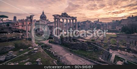 Rome, Italy: The Roman Forum in sunrise stock photo, Rome, Italy: The Roman Forum, Latin: Forum Romanum, Italian: Foro Romano, in the beautiful sunrise of Italian winter by krivinis