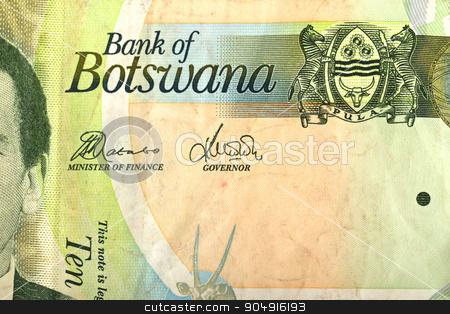 Detail of 10 Botswana Pula banknote stock photo, Detail of 10 Botswana Pula banknote. Botswana Pula is the national currency of Botswana by Artush