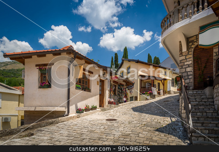 Old street of Bar touristic town center, Montenegro stock photo, Old pavement street and buildings of Bar touristic town center, Montenegro by Alexander Nikiforov