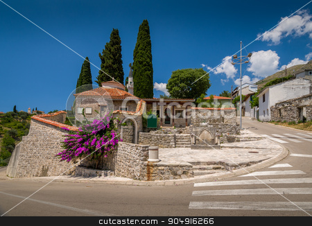 Bar town center and old mosque buildings stock photo, Old Bar street view with stone mosque entrance buildings at touristic center of a town. Bar, Montenegro by Alexander Nikiforov