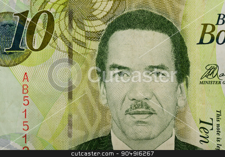 Detail of 10 Botswana Pula banknote stock photo, Detail of 10 Botswana Pula banknote. Botswana Pula is the national currency of Botswana by Artush