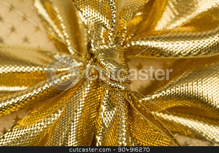 detail of golden ribbon  stock photo, close up detail of golden ribbon on luxury gift by Artush