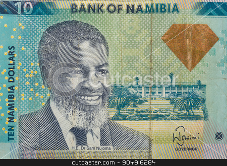 Detail of 10 Namibian dollars banknote stock photo, Detail of 10 Namibian dollars banknote. Namibian dollars is the national currency of Namibia by Artush